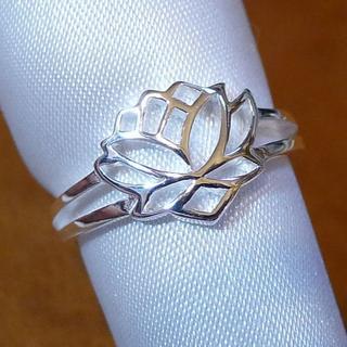 SR1732  指輪シルバー925刻リング 11号 蓮の花 はす ロータス 仏教(リング(指輪))