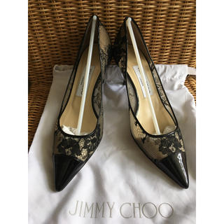 JIMMY CHOO - ジミーチュウ レース パンプス 35.5 美品 ブラック