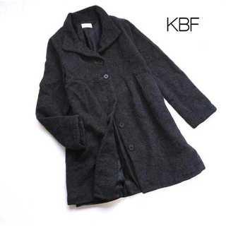 KBF - KBF ケービーエフ★アンゴラ混ウール スタンドカラーコート グレー F