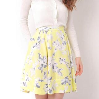 マーキュリーデュオ(MERCURYDUO)の花柄スカート MERCURYDUO イエロー 黄色(ミニスカート)