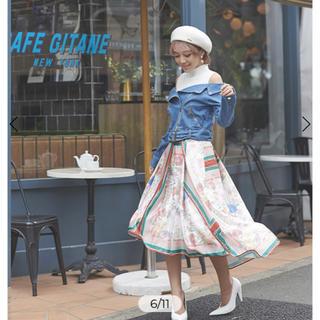 エイミーイストワール(eimy istoire)のフラワースカーフ アシンメトリー スカート(ひざ丈スカート)