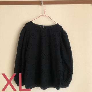 GU - コットンレースブラウス / XLサイズ / GU / ジーユー / ネイビー