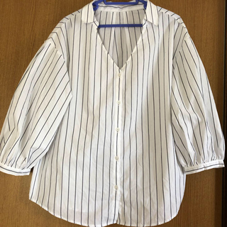 GU - GU ブラウス シャツ ストライプ ふんわり袖