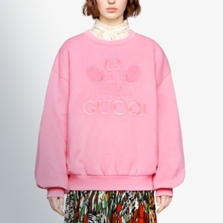 buy popular 2a4fc fbaa1 GUCCI テニス オーバーサイズ スウェットシャツ ピンク
