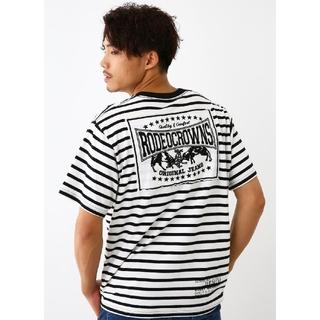 柄ホワイトXLサイズ メンズカラーパッチTシャツ