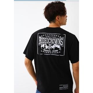 ロデオクラウンズワイドボウル(RODEO CROWNS WIDE BOWL)のブラックMサイズ メンズカラーパッチTシャツ (Tシャツ/カットソー(半袖/袖なし))