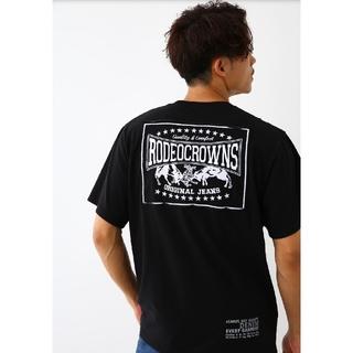 ロデオクラウンズワイドボウル(RODEO CROWNS WIDE BOWL)のブラックLサイズ メンズカラーパッチTシャツ(Tシャツ/カットソー(半袖/袖なし))