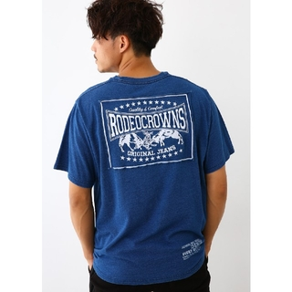 ライトブルーMサイズ メンズカラーパッチTシャツ