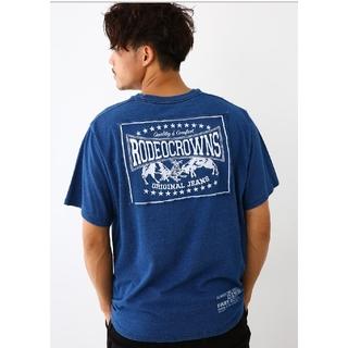 ライトブルーLサイズ メンズカラーパッチTシャツ