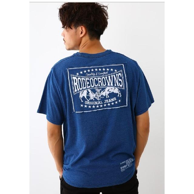 RODEO CROWNS WIDE BOWL(ロデオクラウンズワイドボウル)のライトブルーXLサイズ メンズカラーパッチTシャツ メンズのトップス(Tシャツ/カットソー(半袖/袖なし))の商品写真