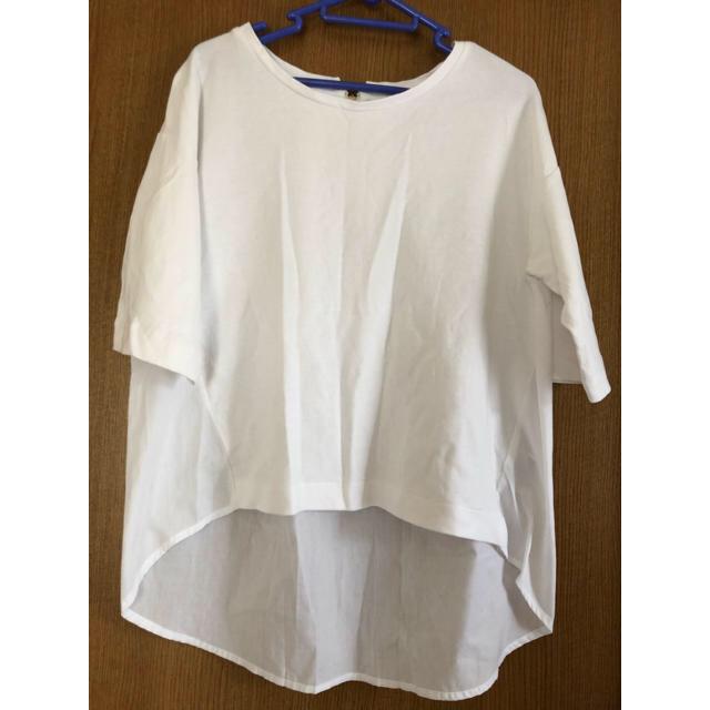 GU(ジーユー)のGU 異素材 カットソー シャツ ブラウス Tシャツ  レディースのトップス(シャツ/ブラウス(半袖/袖なし))の商品写真