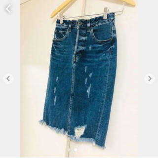 マウジー(moussy)のmoussy 膝丈ダメージスカート(ひざ丈スカート)