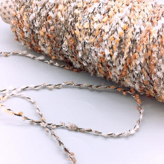 ブラシヤーンラメ加工糸  キャラメルブラウン絣  130g(生地/糸)