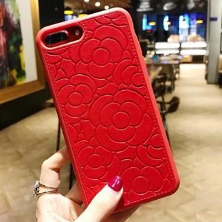 レッド iPhone7 iPhone8 フラワー柄 ソフトケース
