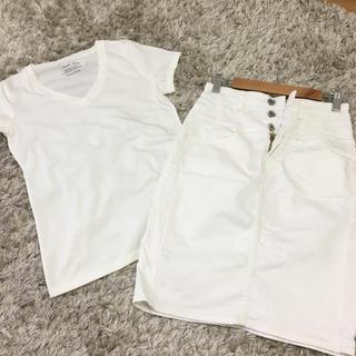GU - GU.白Tシャツ白スカートセットSサイズ