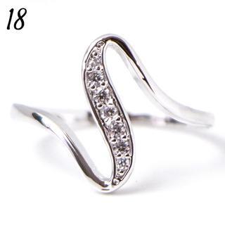 C7 リング 18号 CZ ダイヤ ウェーブ シンプル 大きいサイズ(リング(指輪))