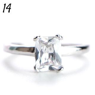 C10 リング 14号 CZ ダイヤモンド シンプル 一粒 レディース(リング(指輪))