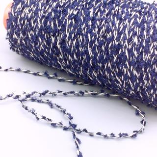 ブラシヤーンラメ入り加工糸 ネイビー×白  150g(生地/糸)