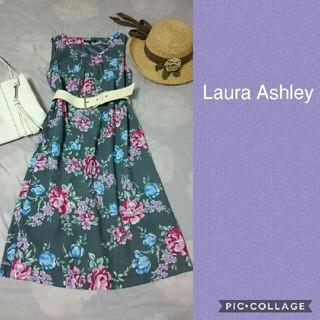 LAURA ASHLEY - 美品◆ローラアシュレイ花柄 ワンピース グレー フラワー