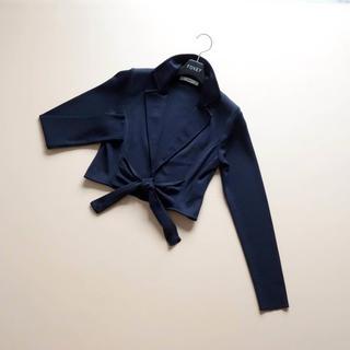 René - ■Rene■ 36 濃紺 襟ボレロ ニットジャケット ルネ