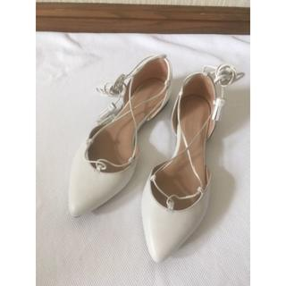 ★VANILLA MOONバニラムーン白レースアップフラットシューズ靴37★(その他)