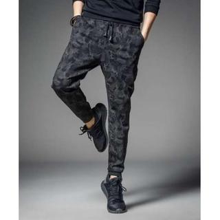 メンズ 迷彩柄 ジョガーパンツ スウェット 9分丈 パンツ  黒 XL
