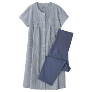 MUJI (無印良品) - 新品   無印良品  脇に縫い目のないサッカー授乳に便利な半袖パジャマ・八分丈