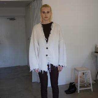 Maison Martin Margiela - PERVERZE Crash Wide Knit Cardigan White