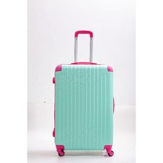 スーツケース B お洒落 デザイン性抜群 軽量 Lサイズ ライトグリーン×ピンク(旅行用品)