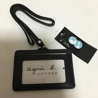 agnes b. - アニエス b  カードケース ネックストラップ ブラック 新品 レザー