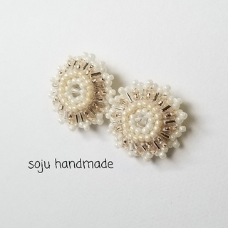 ピアス&バレッタ ビーズ刺繍(ピアス)