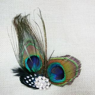 新品◆クジャクの髪飾り④(バレッタ/ヘアクリップ)