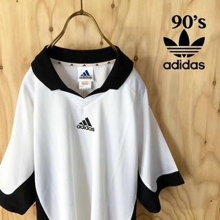アディダス(adidas)の【美品】90's adidas モノトーン  ゲームシャツ ホワイト ブラック(Tシャツ/カットソー(半袖/袖なし))