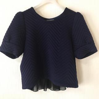 リリーブラウン(Lily Brown)のリリーブラウン Tシャツ カットソー トップス フリル ネイビー(Tシャツ(半袖/袖なし))