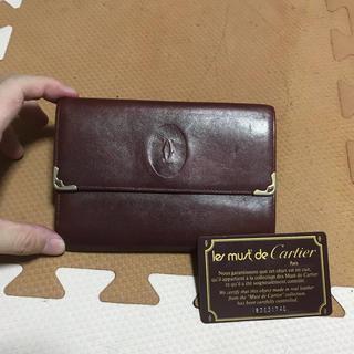 カルティエ(Cartier)のカルティエ おり財布 ボルドー マストライン   ガマ口 小銭入れあり ワイン(財布)