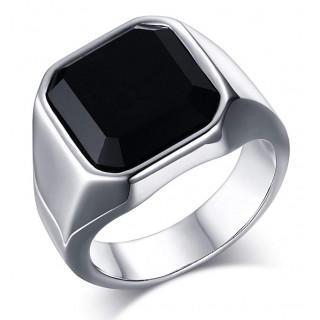 ステンレス製 ボリューム メンズ リング 指輪 ブラックオニキス リング (リング(指輪))