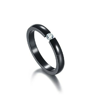 高品質ジルコニア*サージカルステンレスリング*3mm幅指輪*ブラック黒*14号(リング(指輪))