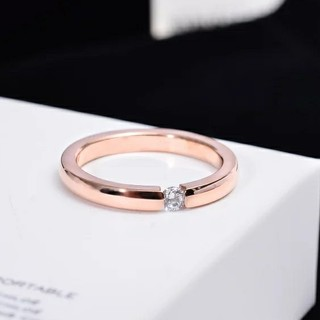 高品質ジルコニア*サージカルステンレスリング*3mm幅指輪*ピンクゴールド*9号(リング(指輪))