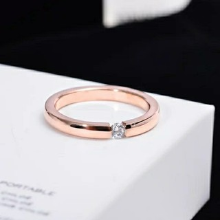 高品質ジルコニア*サージカルステンレスリング*3mm幅指輪*ピンクゴールド14号(リング(指輪))