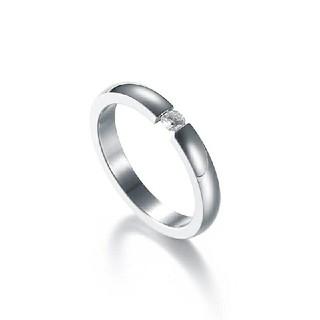 高品質ジルコニア*サージカルステンレスリング*3mm幅指輪*シルバー*14号(リング(指輪))
