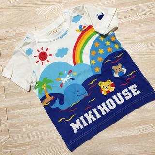 mikihouse - ミキハウス Tシャツ プッチーくん マリン 海 レインボー アップリケ 90
