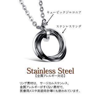 3連 リング ネックレス メンズ ステンレス ブラック シルバー メンズ