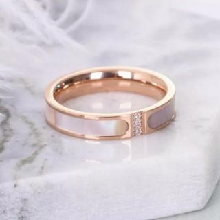 3連ジルコニア*ピンクシェル貝*サージカルステンレスリング*指輪*14号(リング(指輪))