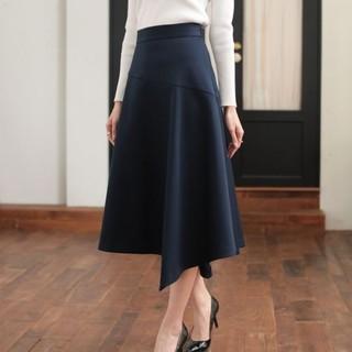 アナイ(ANAYI)のANAYI ダブルクロスアシメフレアスカート(紺) (ロングスカート)