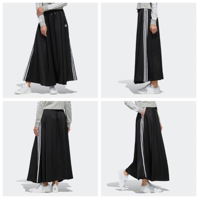 adidas(アディダス)の【レディースXS】黒  ロングサテンスカート レディースのスカート(ロングスカート)の商品写真