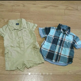 ベビーギャップ(babyGAP)のベビーギャップ シャツロンパース、半袖シャツ セット 12~18m(80サイズ)(ロンパース)
