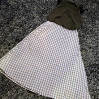 GU - 人気カラーベージュ☆チェックフレアスカート