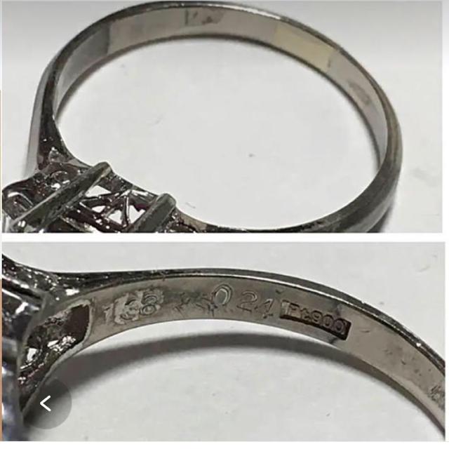 赤色 のスクエアストーンとダイヤモンドのプラチナ 昭和レトロなリング レディースのアクセサリー(リング(指輪))の商品写真