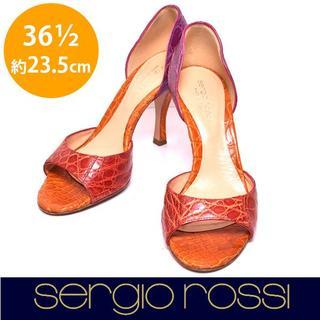 セルジオロッシ(Sergio Rossi)の美品❤️セルジオロッシ クロコ調 パンプス 36 1/2(約23.5cm)(サンダル)