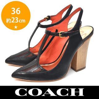 コーチ(COACH)の新品❤️コーチ ウッドヒール バックバンド デザイン パンプス 36(約23cm(ハイヒール/パンプス)